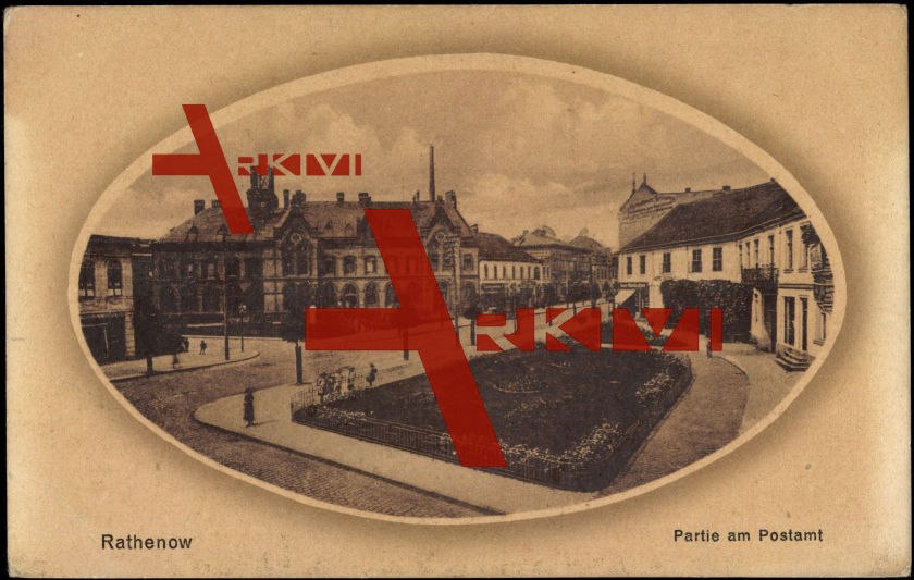 Passepartout Rathenow, Platz mit Häusern, Postamt