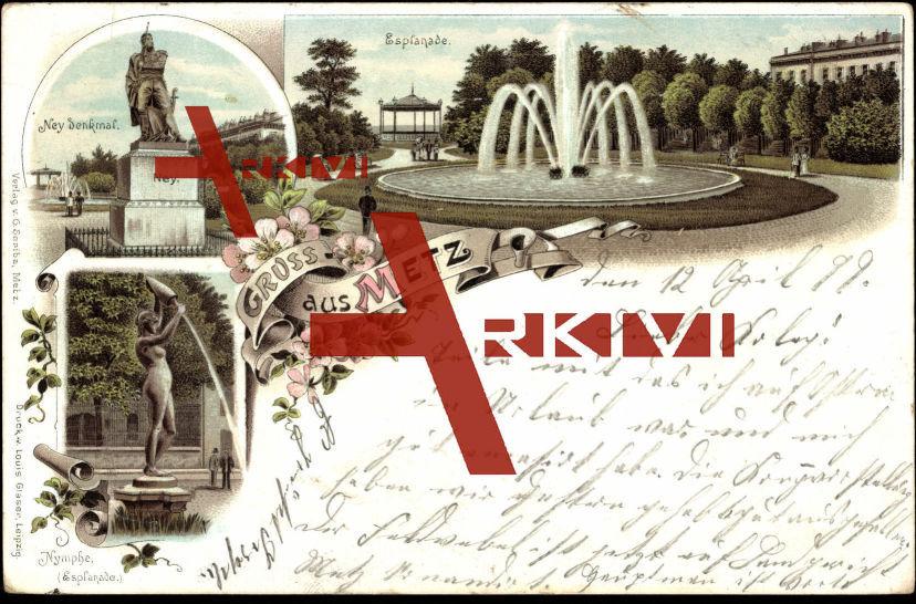 Metz Moselle, Esplanade, Ney Denkmal, Nymphe
