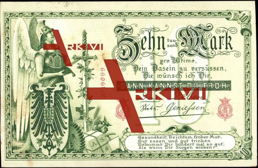 Geld , Zehntausend Mark, Germania mit Helm, Nr. 19099