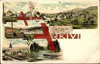 Reinowitz Liberecky kraj, Ort mit Häusern, Fabrik