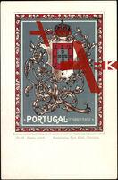 Wappen Portugal, Wappen mit Krone und Ranken