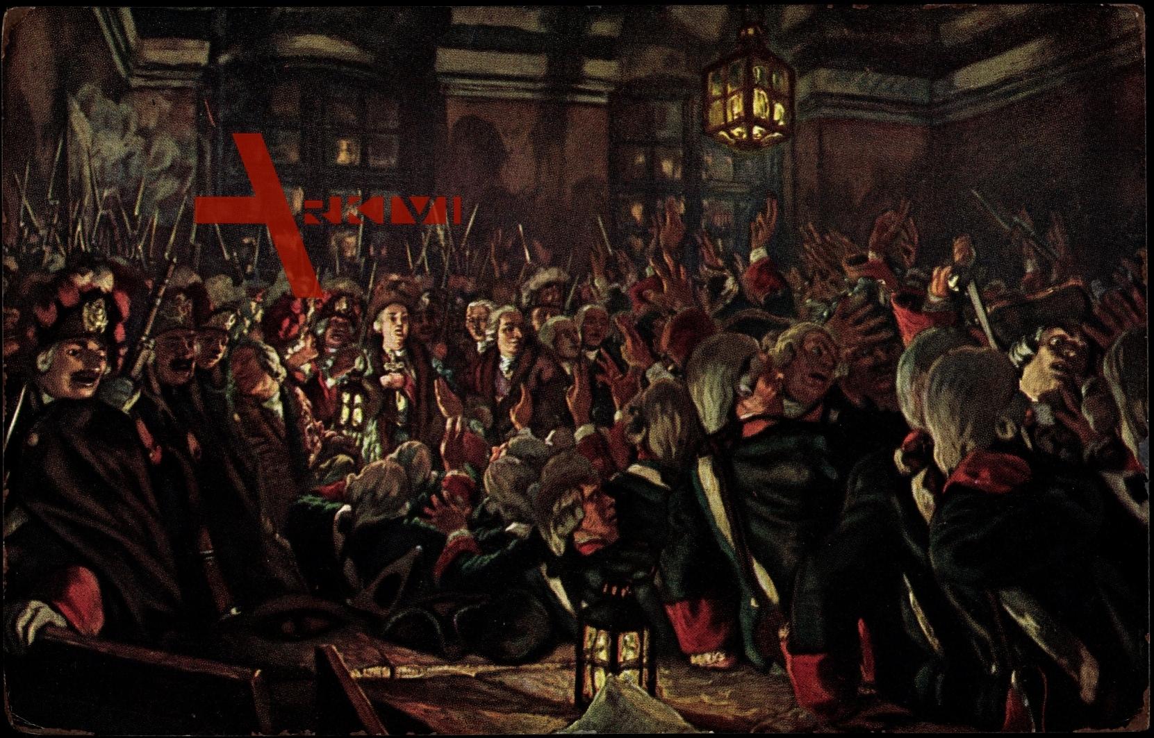 Kronprinzessin Elisabeth vereidigt am 25. Nov 1741 das Preobraschenski-Garderegiment zum Staatsstreich