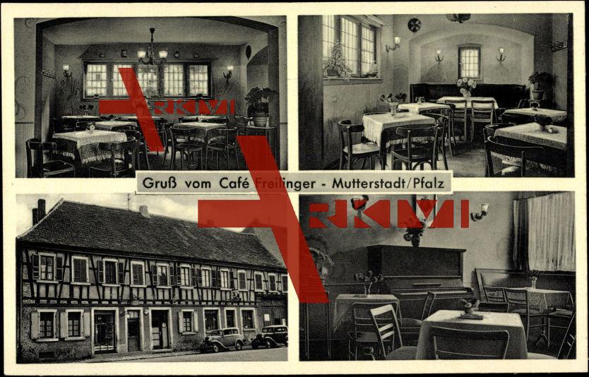 Mutterstadt, Blick ins Café Freilinger, Fachwerkhaus