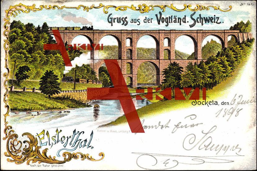 Jocketa Pöhl Elsterthal, Dampflok a Bodenbrücke