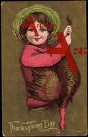 Glückwunsch Thanksgiving, Kind mit Truthahn