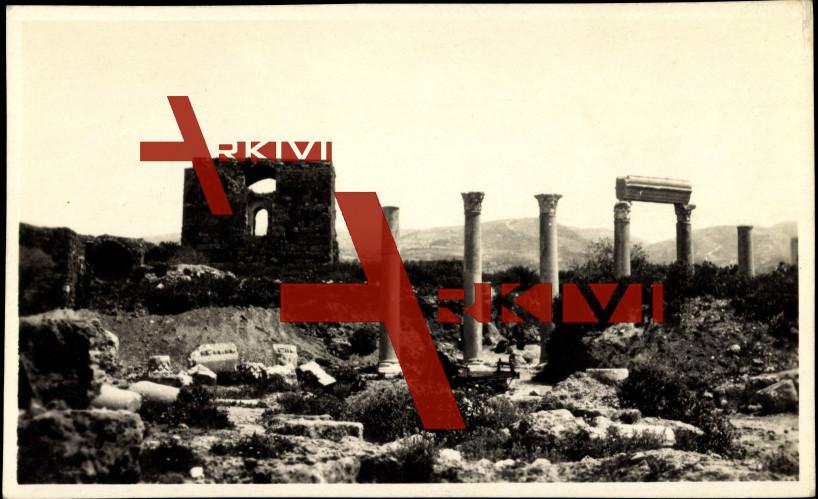 Byblos Libanon, Blick auf Ruinen, Säulen