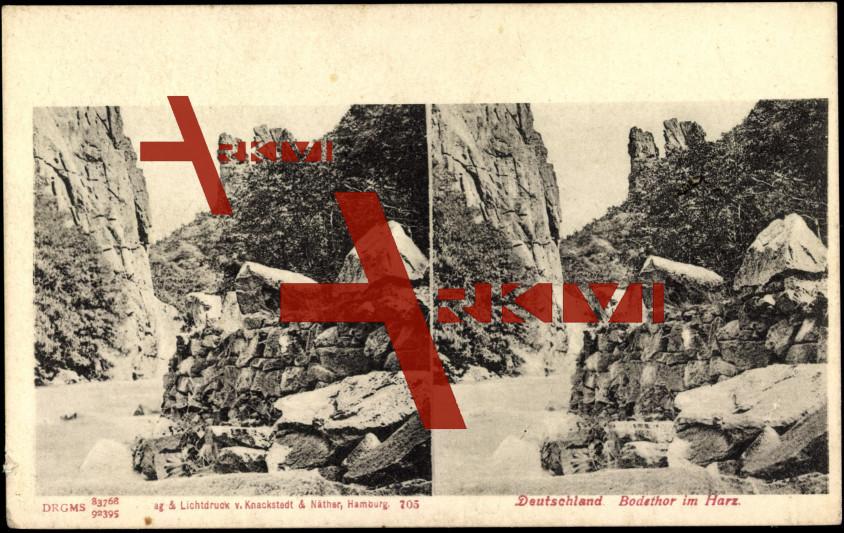 Blick auf das Bodethor im Harz, Felsen