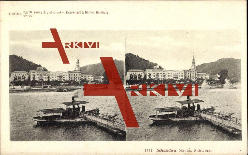 Bad Schandau, Blick auf den Ort, Dampfer