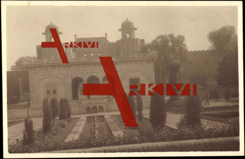 Lahore Pakistan, Blick auf Tempel mit Garten