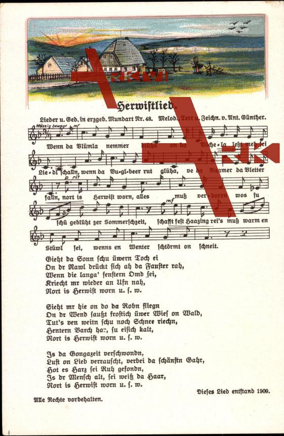 Liedkarten  Anton Günther, Mundart Nr. 48, Herwis...