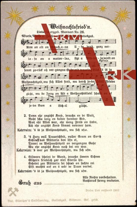Liedkarten  Anton Günther, Mundart Nr. 26, Weihn...