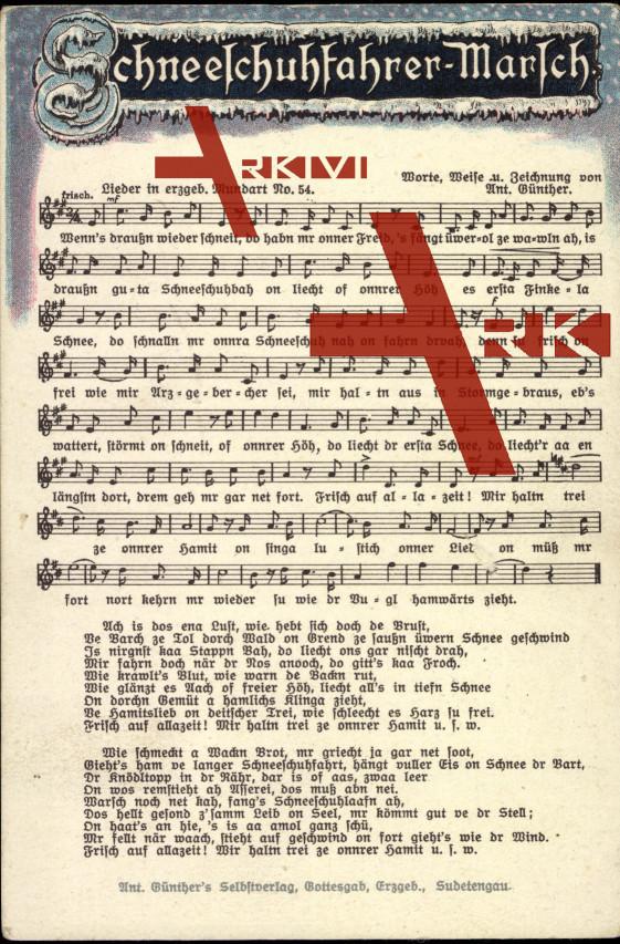 Lied Günther A., Nr. 54, Schneeschuhfahrer Marsch