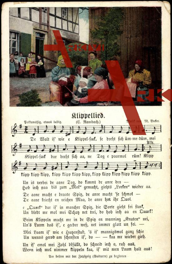 Lied Rambach C., Klippellied, Frauen beim Klöppeln