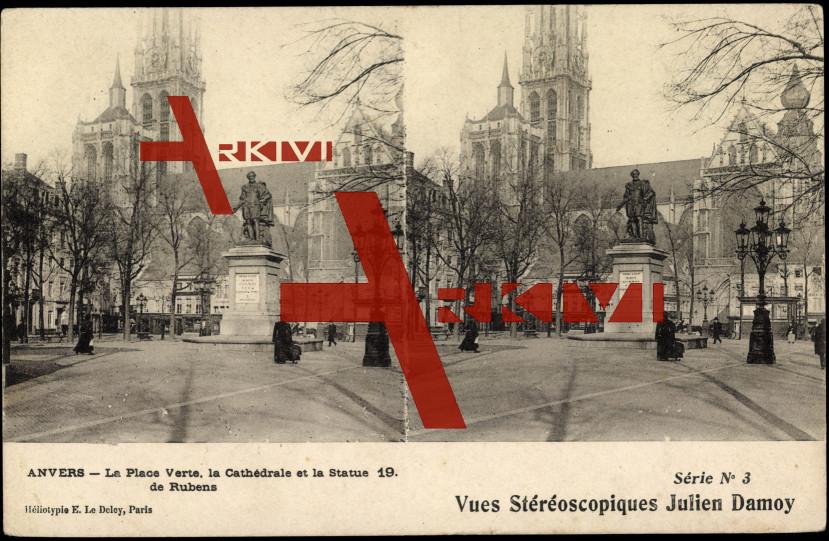 Antwerpen, La Place Verte, Cathédrale, Statue