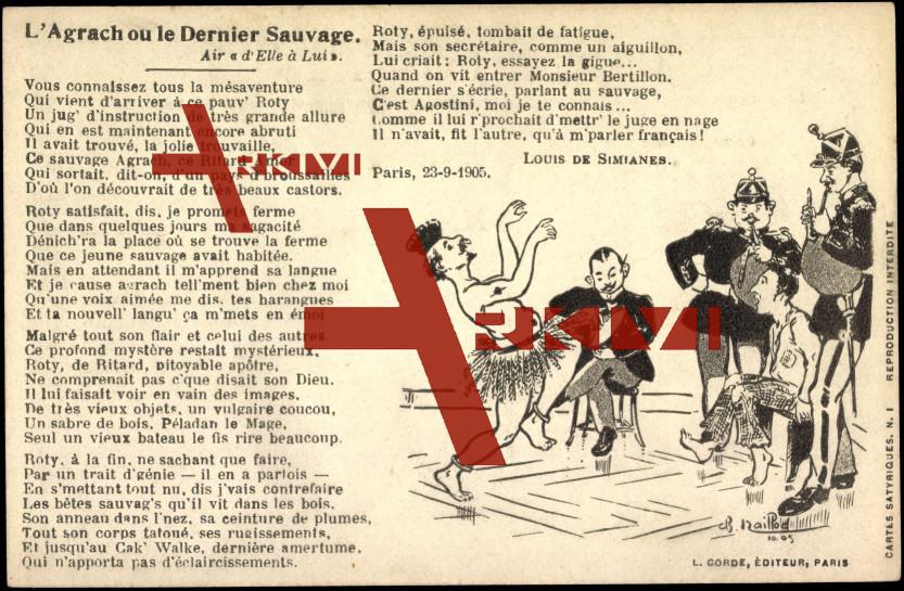 Gedicht Ak Simianes, L., Agrach, Sauvage, Caricature