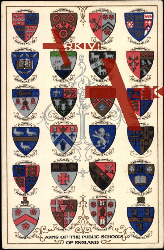 Wappen Arms of Public Schools of England, Eton etc.