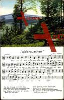 Lied Roth P., Waldrauschen, Waldpartie mit Bergen