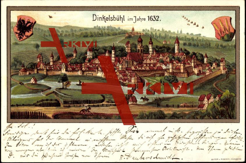 Dinkelsbühl, Ansicht von 1632, Wappen