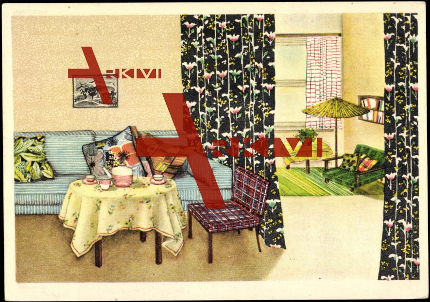 Reklame Indanthren farbe, Wohnzimmer, Vorhänge