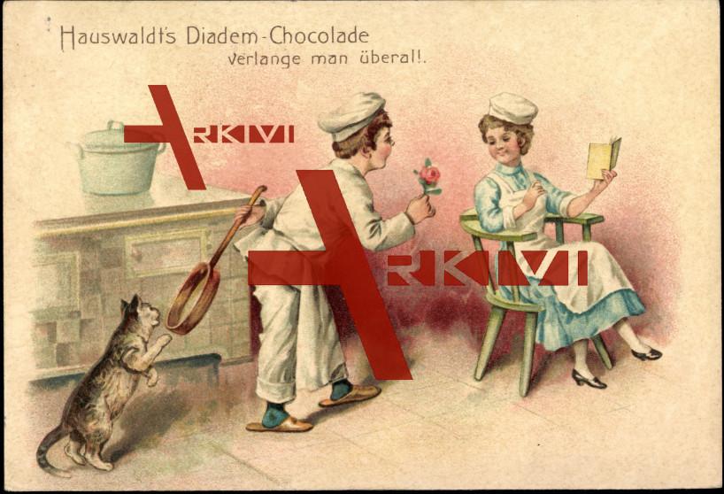 Hauswaldt's Diadem Schokolade, Katze, Pfanne,Koch