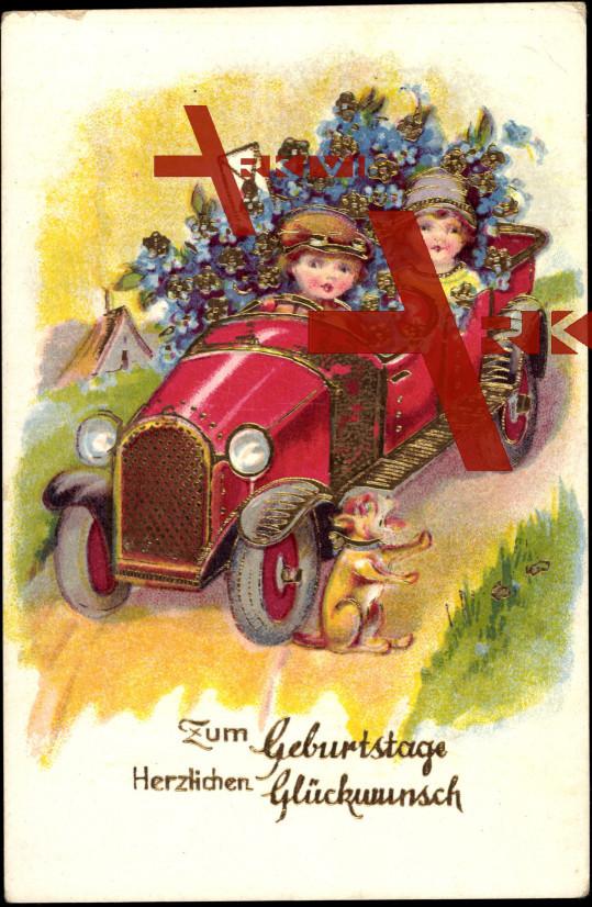 Gluckwunsch Geburtstag Auto Blumen Brief Hund Xl