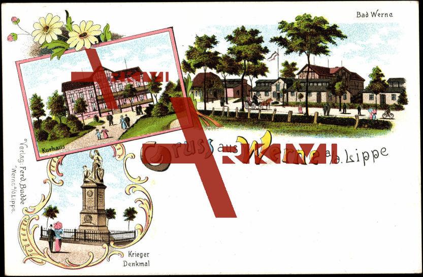 Bad Werne an der Lippe, Kurhaus u. Kriegerdenkmal