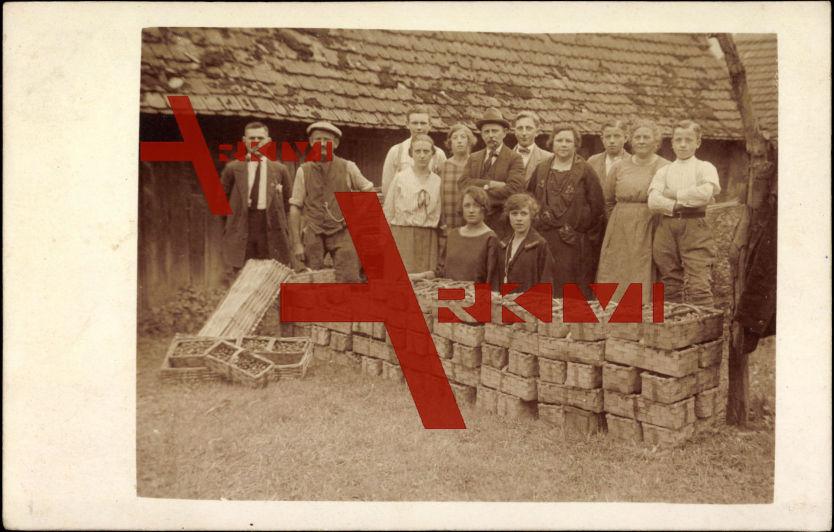 Gruppenfoto, Landwirtschaft, Sammler, Körbe