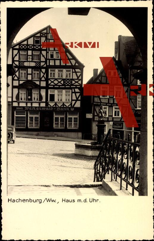 Hachenburg Ww., Westerwald Bank, Haus m.d. Uhr