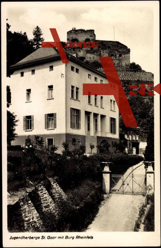 St Goar, Jugendherberge, Blick zur Burg Rheinfels