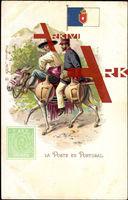 Briefmarken La Poste en Portugal, Post auf Esel,25 R