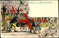 Baumblüte, Mann schiebt Kinderwagen, Emanzipation