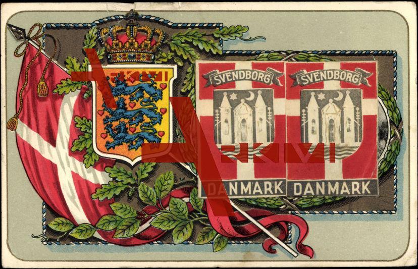 Leporello Wappen Dänemark, Svendborg, Flagge