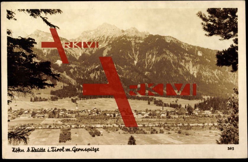 Höfen b. Reutte Tirol, Totale vom Ort, Gernspitze
