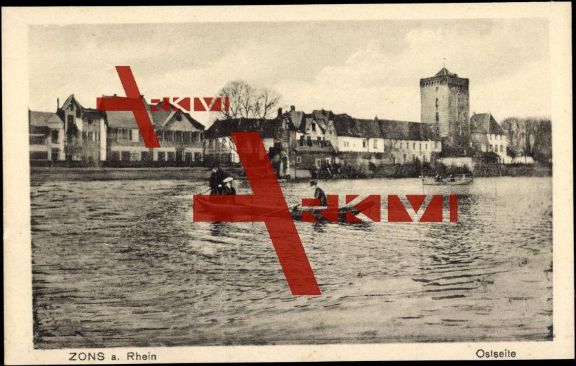 Zons Dormagen Rhein, Ostseite, Flusspartie, Boot