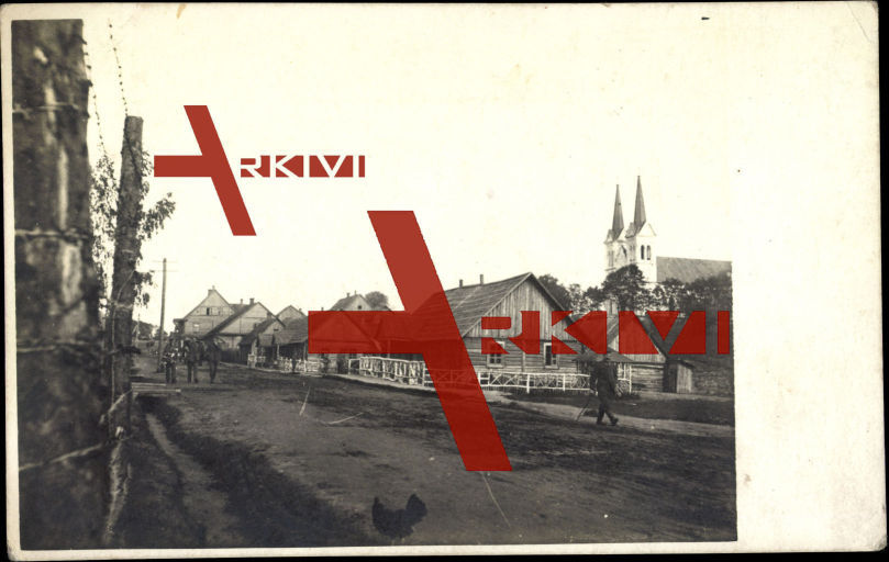 Abelli Litauen, Soldaten,Holzhütten,Kirche,1916