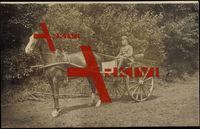 Soldat auf einer Kutsche, Pferd, Peitsche