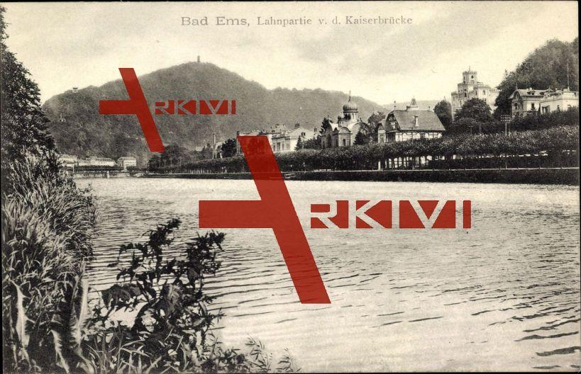 Bad Ems Rheinland, Ortschaft mit Kaiserbrücke, Fluss