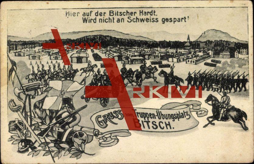 Bitsch Moselle, Truppen Übungsplatz, Hardt,Gewehr