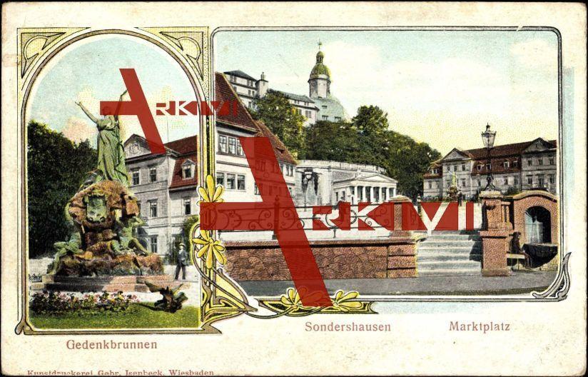 Relief Sondershausen, Blick zum Gedenkbrunnen, Markt