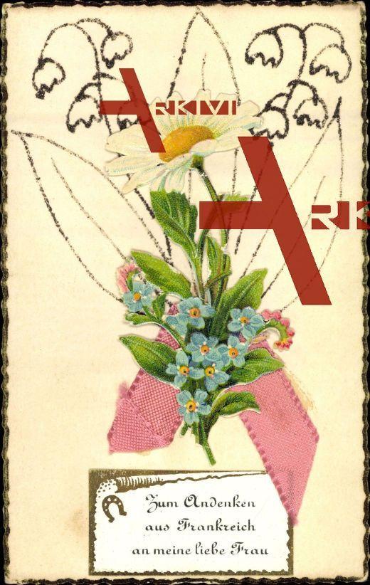 Material Andenken aus Frankreich, Blumen, Hufeisen