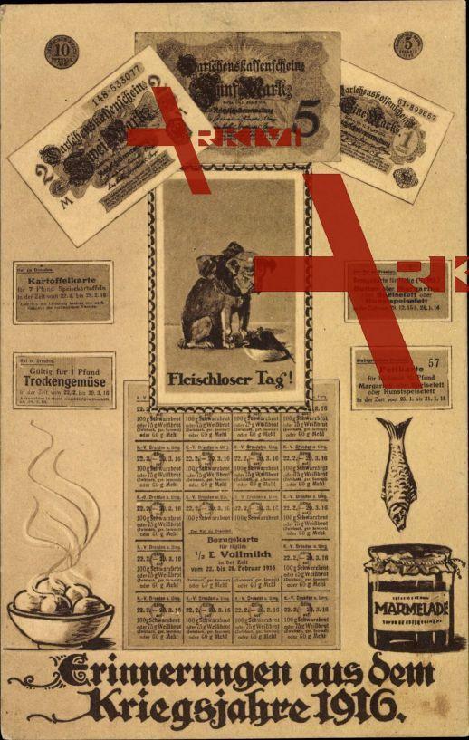 Geldschein Kriegsjahre 1916, Fleischloser Tag,5 Mark