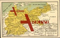 Landkarte Deutschland, Ehemalige Ostgebiete, Krieg