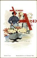 Bersch, F.,Berliner Typen,Blumenverkäuferin