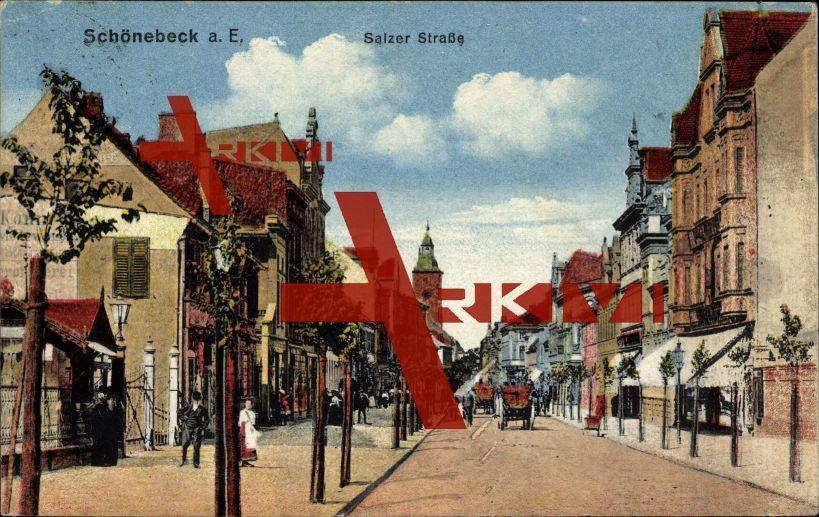 Schönebeck Elbe, Wohnhäuser in der Salzer Straße; gelaufen 1920, Eckknick links oben, sonst guter Zustand; PLZ 39218