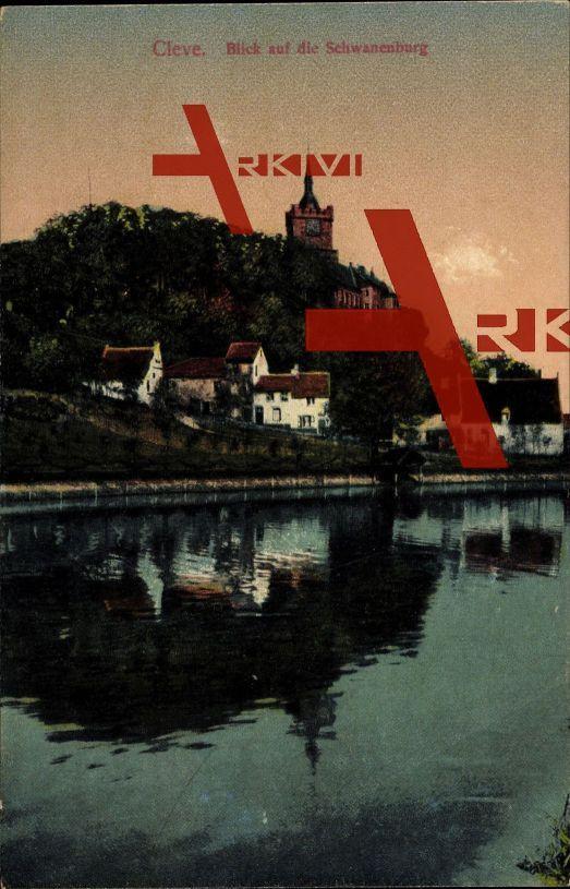 Kleve, Blick auf die Schwanenburg, Blick vom Ufer; ungelaufen, sehr guter Zustand; PLZ 47533