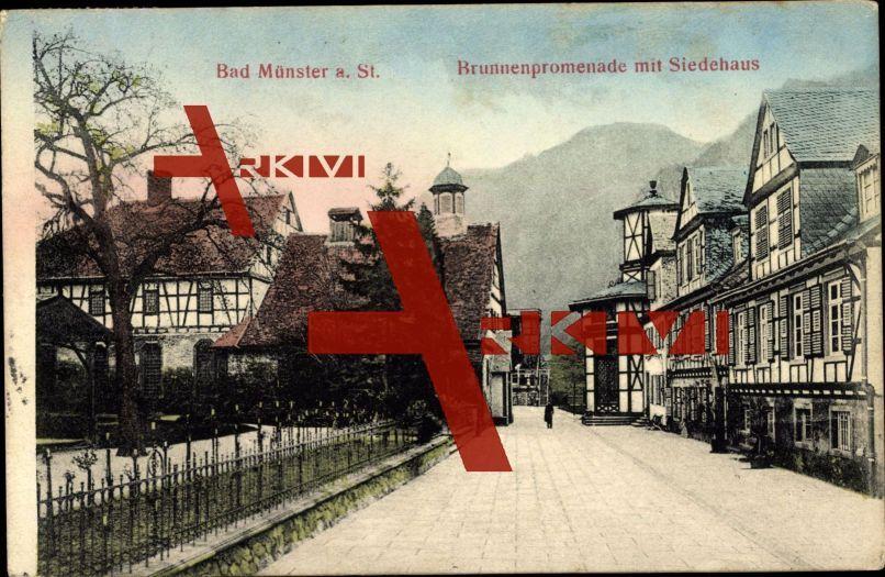 Bad Münster Ebernburg, Brunnenpromenade, Siedehaus; gelaufen 1908, fleckig, sonst guter Zustand; PLZ 55583