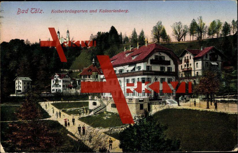Bad Tölz, Kolberbräugarten und Kalvarienberg; gelaufen 1920, Ecken bestoßen, sonst guter Zustand; PLZ 83646
