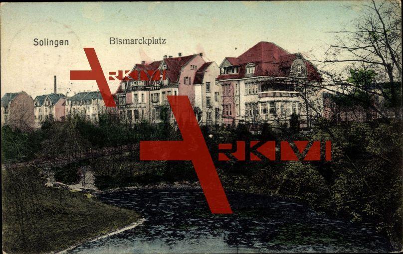 Solingen, Blick auf die Stadt mit Park und Teich; gelaufen, Oberflächenschaden hinten, sonst guter Zustand; PLZ 426