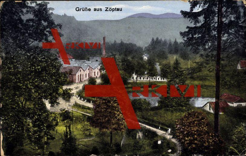 Zöptau Ölmütz, Blick in das Tal, Dorfpartie, See; gelaufen 1927, Ecken bestoßen, Kanten bestoßen, sonst guter Zustand