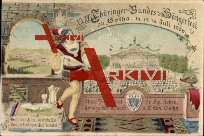 Gotha, 23. Thüringer Bundes Sängerfest Juli 1906; gelaufen 1906, Einriss oben, Kratzer, sonst guter Zustand; PLZ 99867